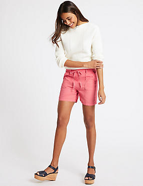 Linen Rich Patch Pocket Shorts, WATERMELON, catlanding
