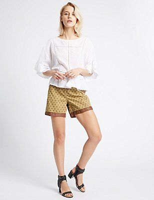 Pure Cotton Printed Trim Shorts, CAMEL MIX, catlanding
