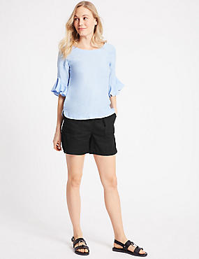 Linen Rich Casual Shorts, BLACK, catlanding