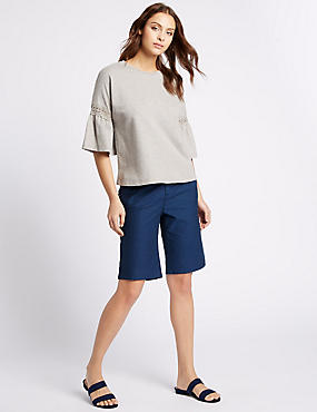 Cotton Rich Spotted Shorts, NAVY MIX, catlanding