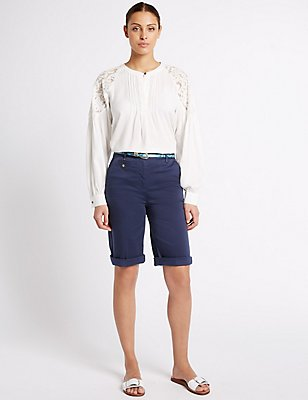 Cotton Rich Chino Shorts, NAVY, catlanding