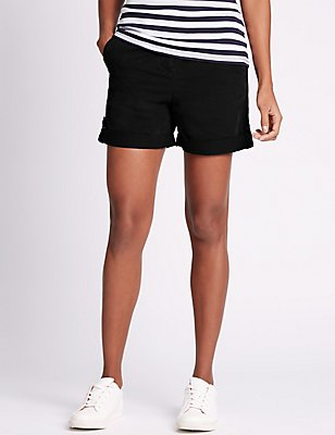 Pure Cotton Rolled Hem Chino Shorts, BLACK, catlanding
