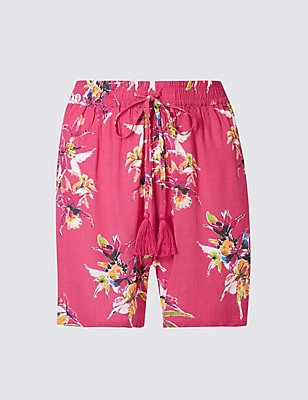 Floral Print Shorts, PINK MIX, catlanding