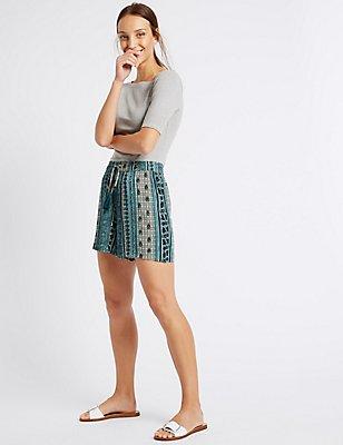 Drawstring Printed Shorts, BLUE MIX, catlanding