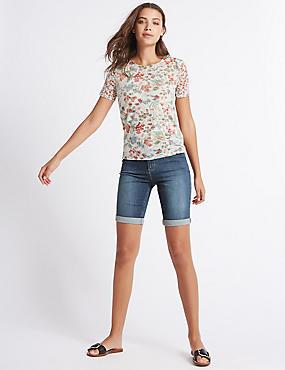 Short en jean à motif tressé, INDIGO, catlanding