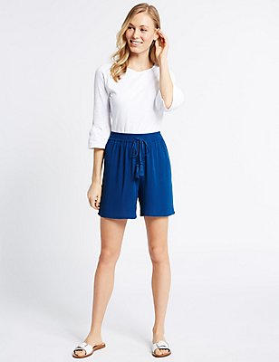 Drawstring Shorts, BLUE, catlanding