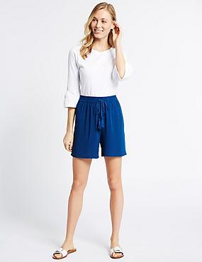 Drawstring Shorts, BLUE, catlanding