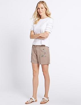 Cotton Blend Embroidered Shorts, PALE PINK MIX, catlanding