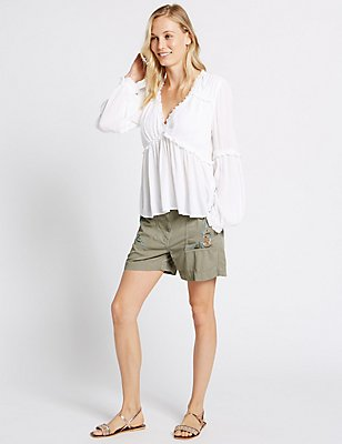 Cotton Blend Embroidered Shorts, GREY MIX, catlanding