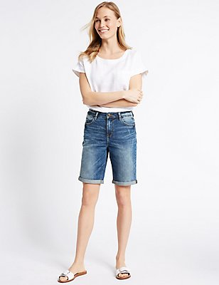 Crosshatch Denim Shorts, DARK INDIGO, catlanding