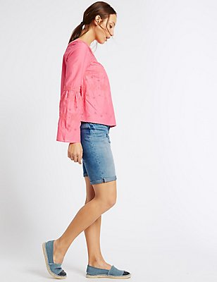 Denim Crosshatch Shorts, LIGHT INDIGO, catlanding