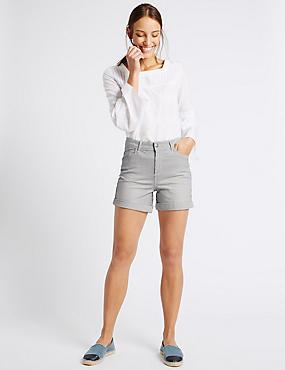 Denim-Shorts mit Streifen, INDIGO MELANGE, catlanding