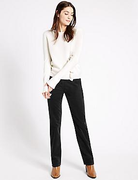 Jeans van corduroy met rechte pijpen, ZWART, catlanding