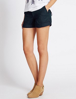 Pure Linen Shorts, NAVY, catlanding