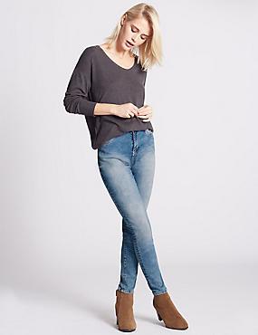Skinny Leg Jeans, LIGHT INDIGO, catlanding
