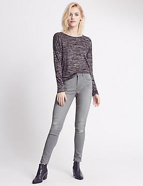 Mid Rise Skinny Leg Jeans, LIGHT GREY, catlanding