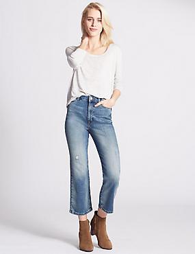 Cropped Flared Leg Jeans, LIGHT INDIGO, catlanding