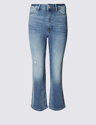 Укороченные джинсы-клёш