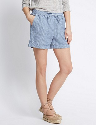 Linen Blend Ticking Striped Shorts, NAVY MIX, catlanding