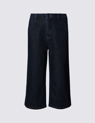Широкие укороченные брюки из денима