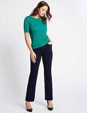 Pocket Bling Roma Rise Straight Leg Jeans, INDIGO, catlanding
