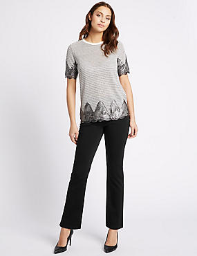 Pocket Bling Roma Rise Straight Leg Jeans, BLACK, catlanding