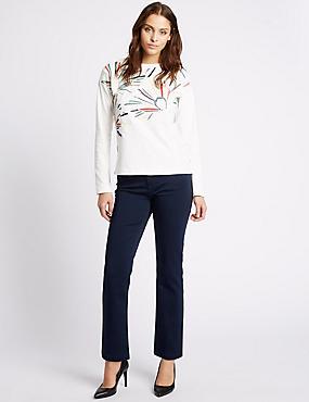 Jeans straight de talle Roma con postizo de adorno, AÑIL, catlanding