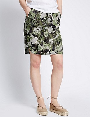 Pure Linen Leaf Print Straight Skirt, KHAKI MIX, catlanding
