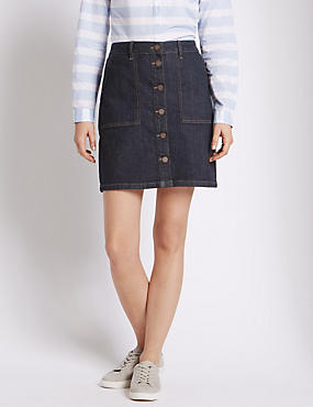 Button Through A-Line Mini Denim Skirt