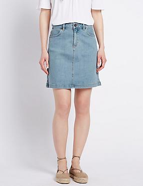 Denim Straight Mini Skirt, LIGHT INDIGO, catlanding