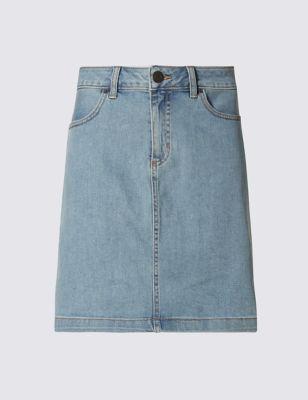Прямая джинсовая мини-юбка