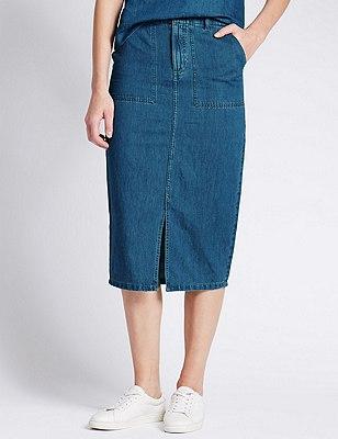 Tailored Fit Denim Midi Skirt with Linen, MID BLUE, catlanding