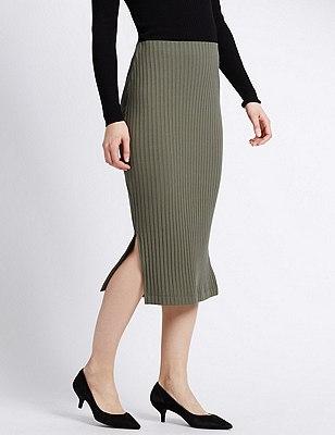 Ribbed Pencil Skirt, KHAKI MIX, catlanding