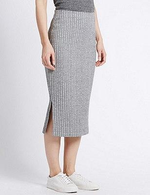 Ribbed Pencil Skirt, GREY MIX, catlanding