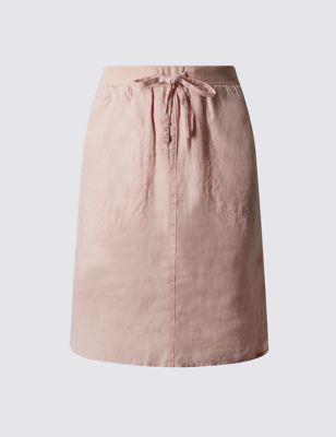 Прямая юбка из чистого льна с карманами