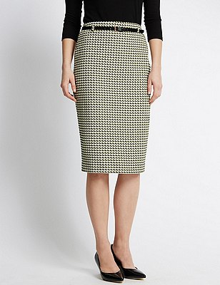 Dogtooth Print Pencil Skirt with Belt, KHAKI MIX, catlanding
