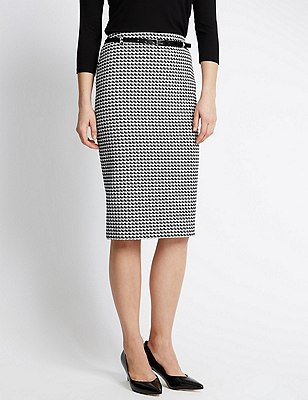Dogtooth Print Pencil Skirt with Belt, BLACK MIX, catlanding