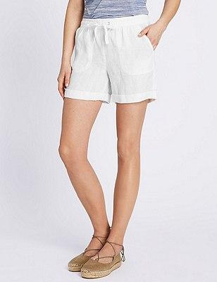 Pure Linen Turn Up Hem Shorts, WHITE, catlanding