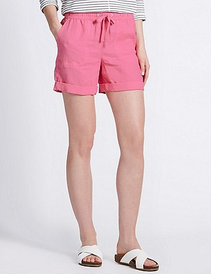 Pure Linen Turn Up Hem Shorts, BRIGHT PINK, catlanding