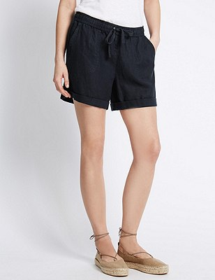 Pure Linen Turn Up Hem Shorts, NAVY, catlanding