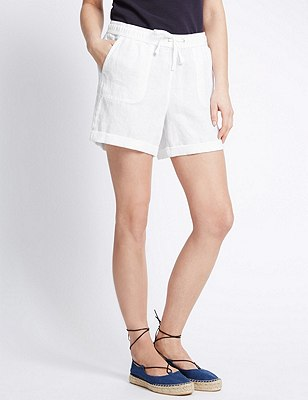 Pure Linen Turn Up Hem Shorts, WHITE, catlanding