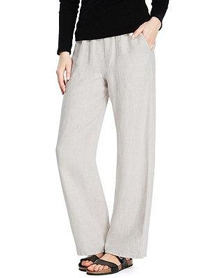 PETITE Pure Linen Wide Leg Beach Trousers, FLAX, catlanding
