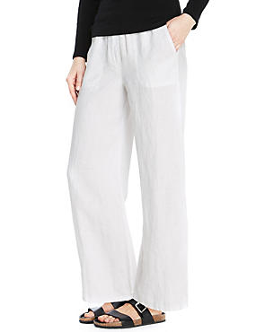 PETITE Pure Linen Wide Leg Beach Trousers, WHITE, catlanding