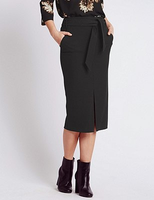 Knot Front Midi Pencil Skirt, BLACK, catlanding