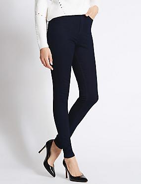 High Rise Skinny Leg Trousers, INDIGO, catlanding
