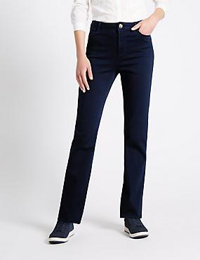 Satin-Jeans im Roma-Stil mit geradem Bein, INDIGO, catlanding