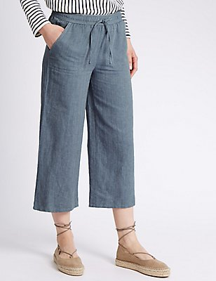 Linen Blend Cropped Trousers, CHAMBRAY, catlanding