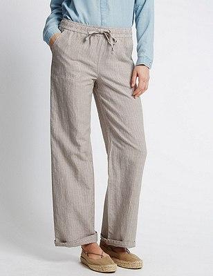 Linen Blend Ticking Striped Beach Trousers, NATURAL MIX, catlanding