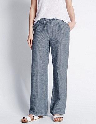 Linen Blend Ticking Striped Beach Trousers, INDIGO, catlanding