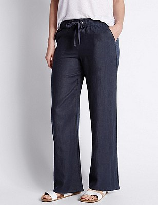 PLUS Pure Linen Wide Leg Trousers, NAVY, catlanding